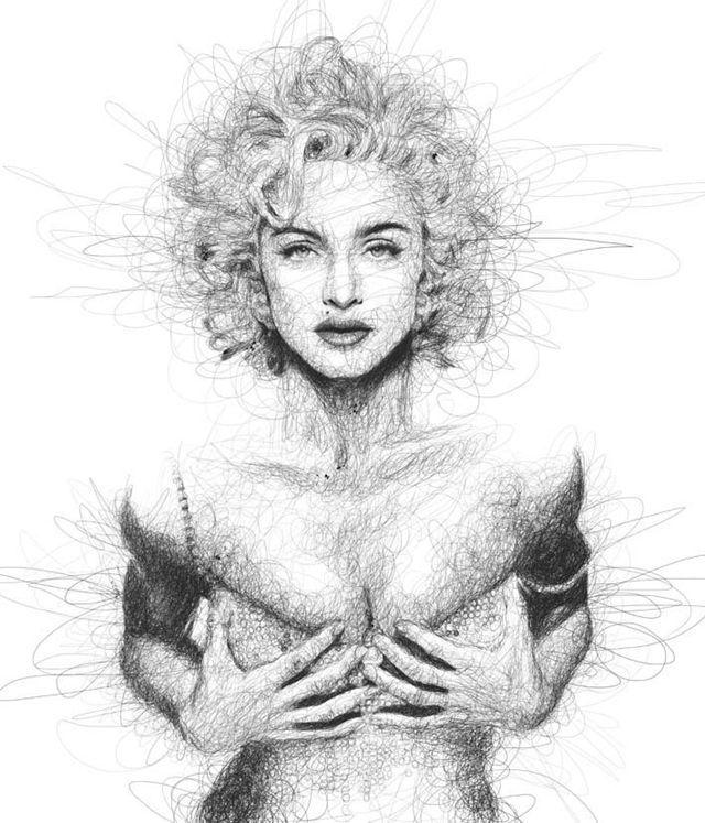 正能量:读写障碍的人画的明星肖像