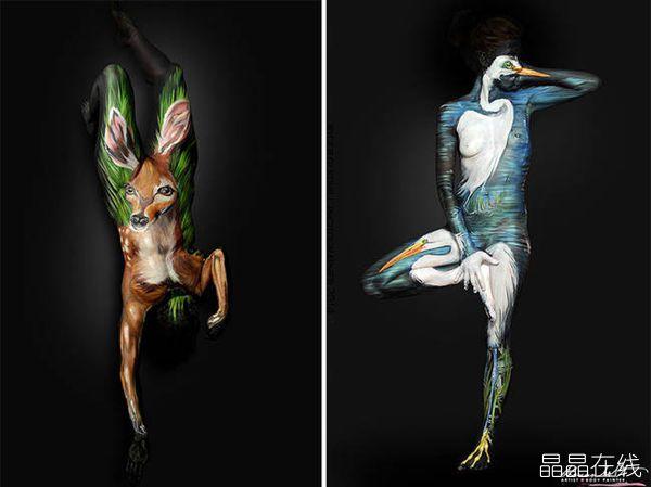 绘制各种动物的人体彩绘